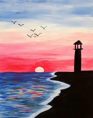 Drawn sea life beach sunset Nite canvas Hamptonroads Gameworks canvas