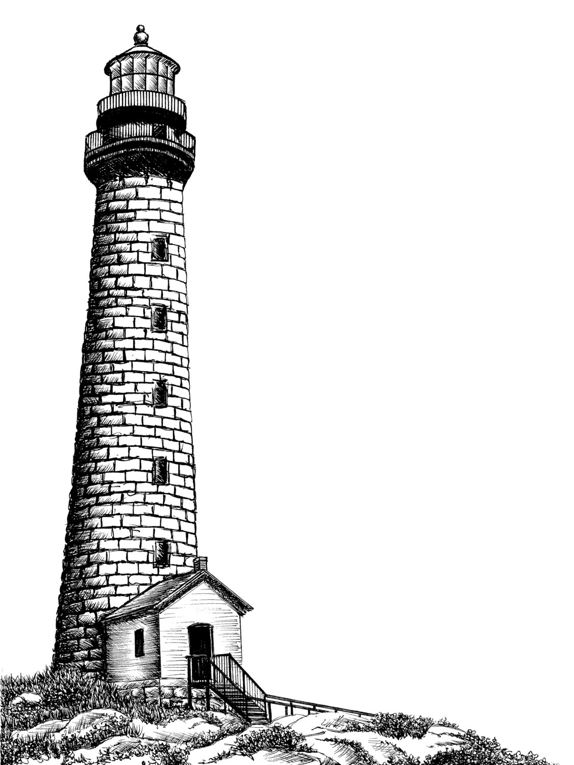 Drawn lighhouse black and white Glass Ink by on Rockport
