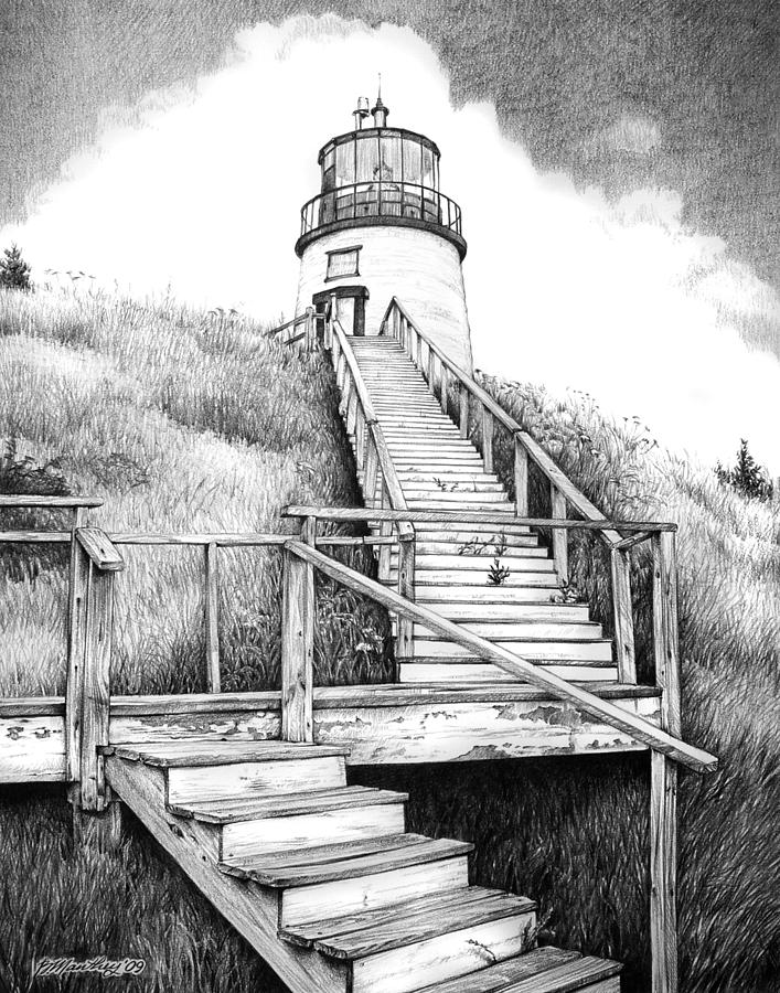 Drawn scenic canvas Lighthouse Photos Free Art Free