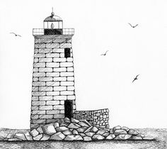 Drawn lighhouse black and white  of Rockport in Whaleback