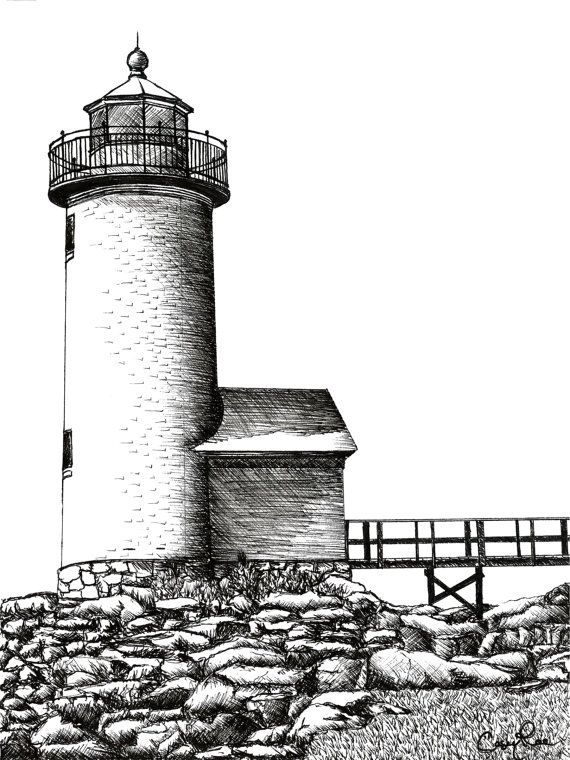 Drawn lighhouse black and white Downloads and Ink Downloads sketches