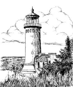 Drawn lighhouse black and white  Print Lighthouse North Lighthouse