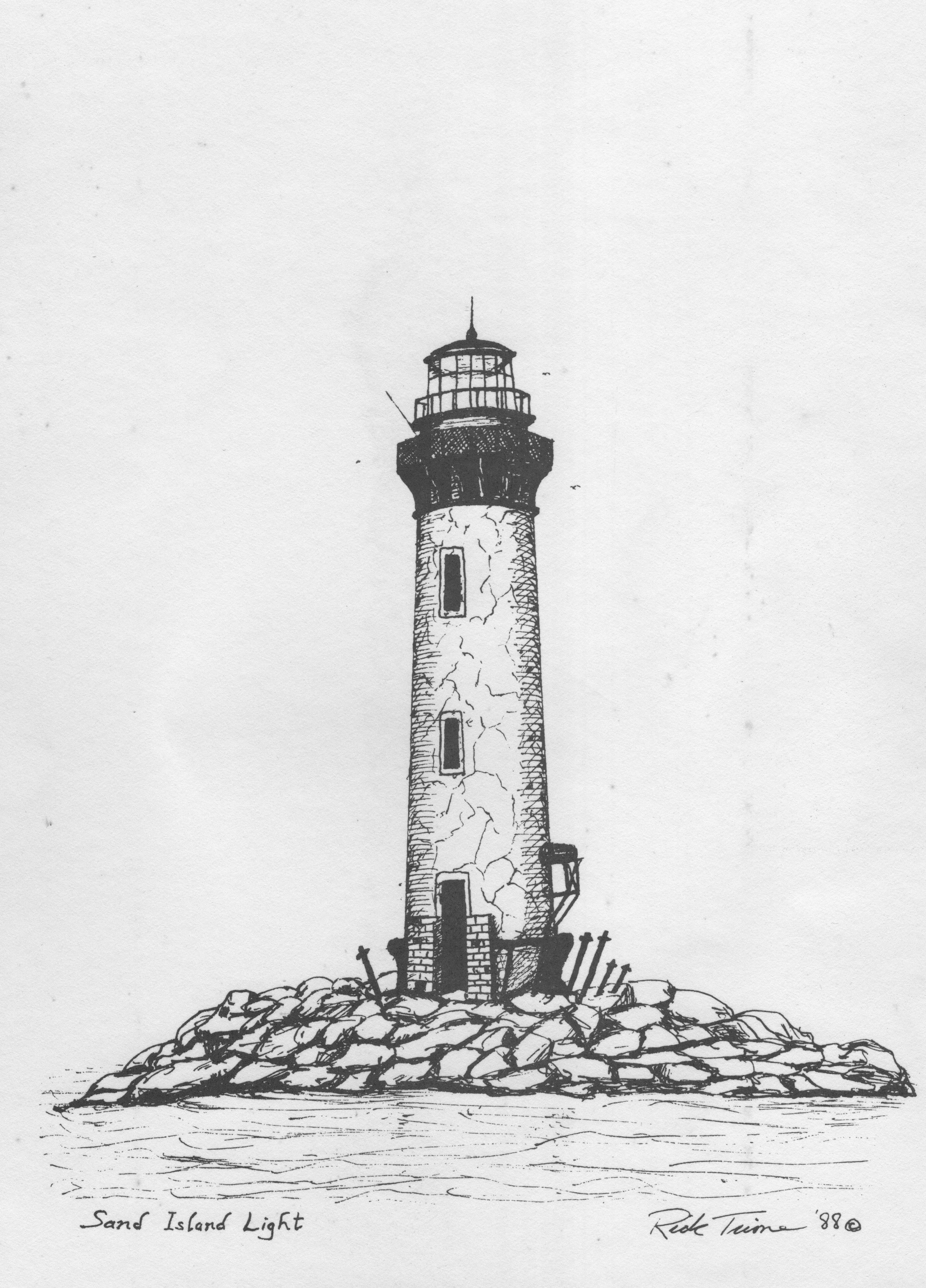 Drawn lighthouse black and white #15