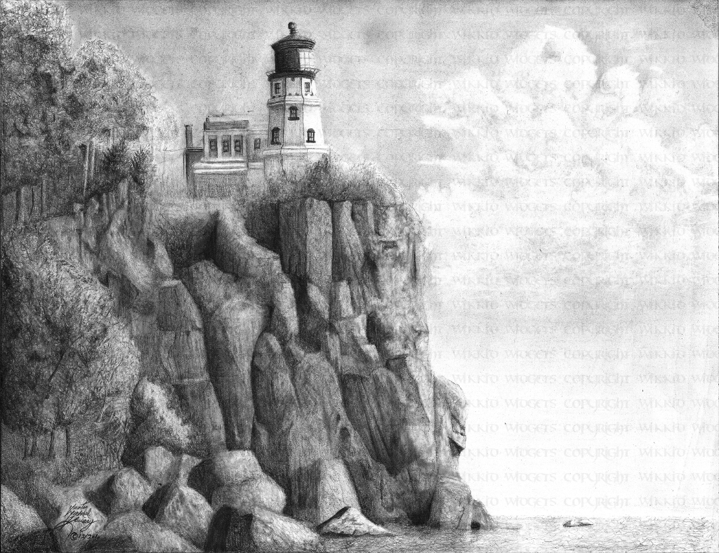 Drawn lighhouse charcoal drawing On  Drawing Clip »