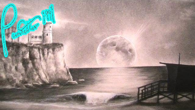 Drawn lighhouse charcoal drawing Drawing Landscape Night Lighthouse Landscape