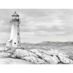 Drawn lighhouse charcoal drawing  Wave drawing Kit Wave