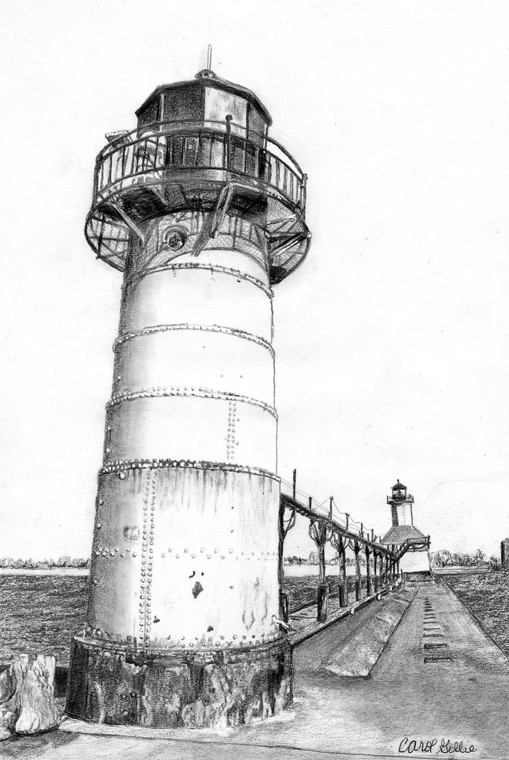 Drawn lighhouse charcoal drawing USA MI Joilieder St Lighthouses