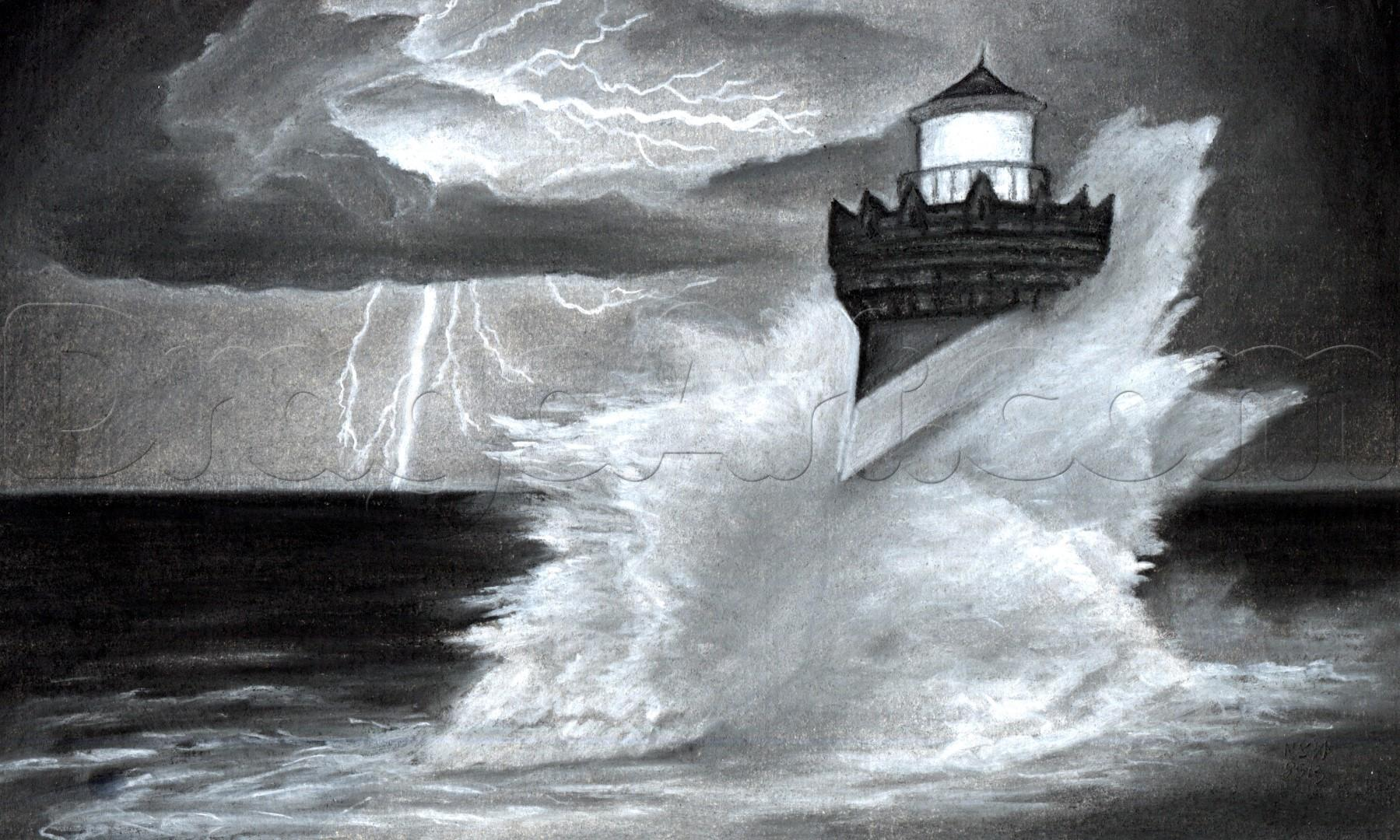Drawn lighhouse charcoal drawing A draw Other how thunderstorm