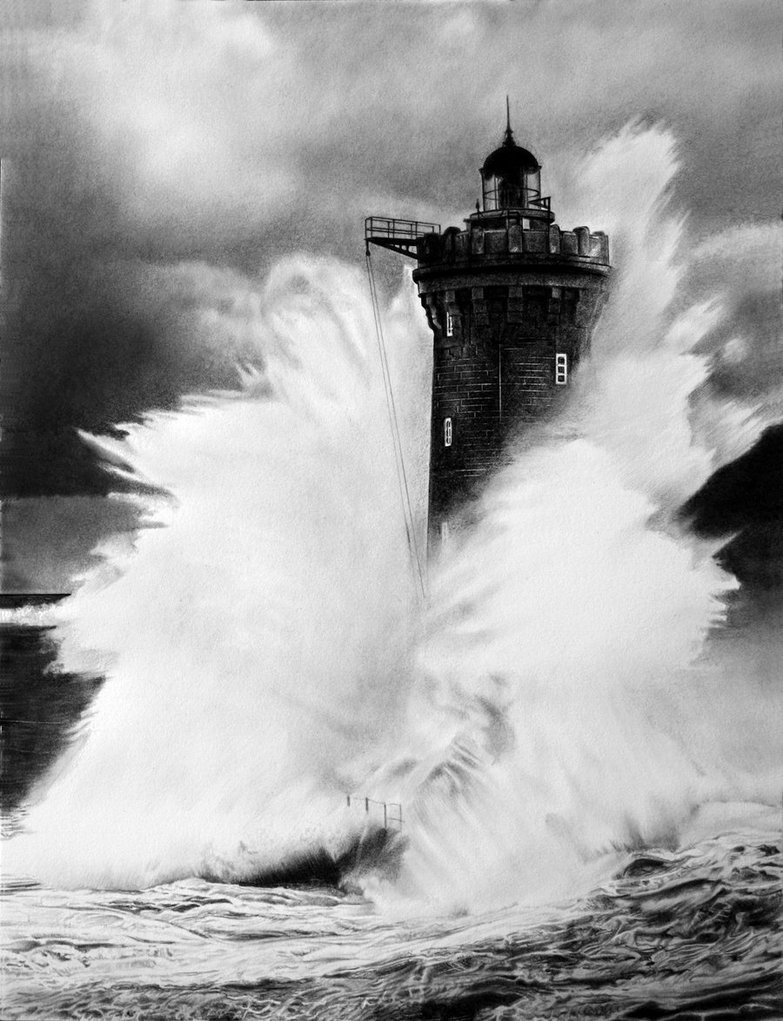 Drawn lighhouse charcoal drawing Drawing 'old' Lighthouse waiting The