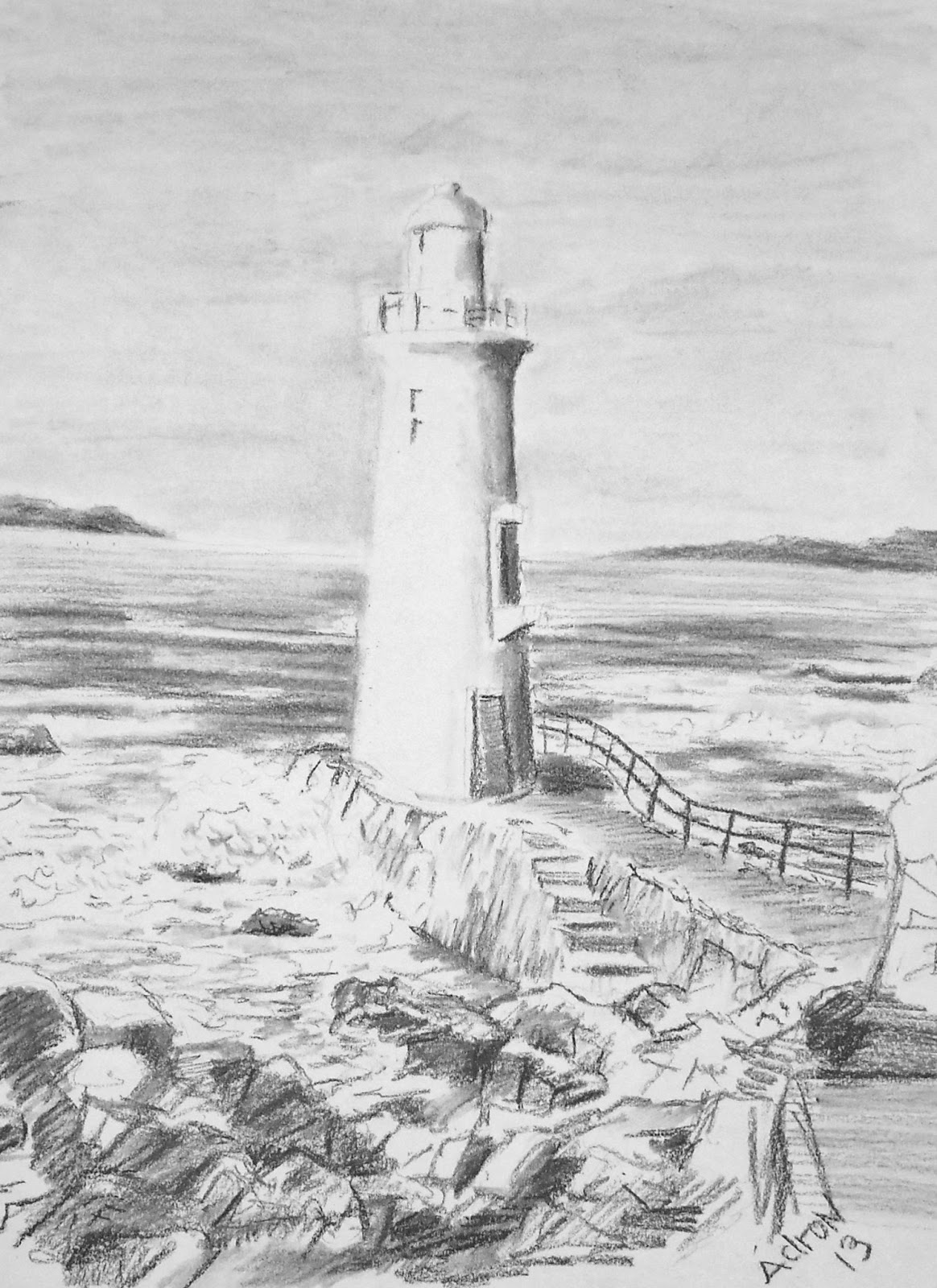 Drawn lighhouse charcoal drawing Light Art of Plans: Charcoal