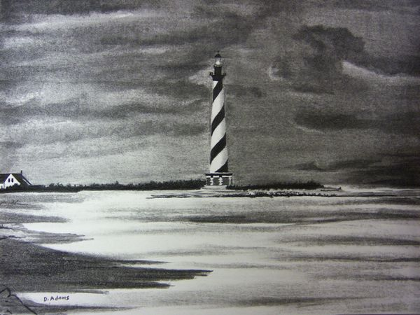 Drawn lighhouse charcoal drawing Lighthouses Lighthouse Cape Adamsart Hatteras