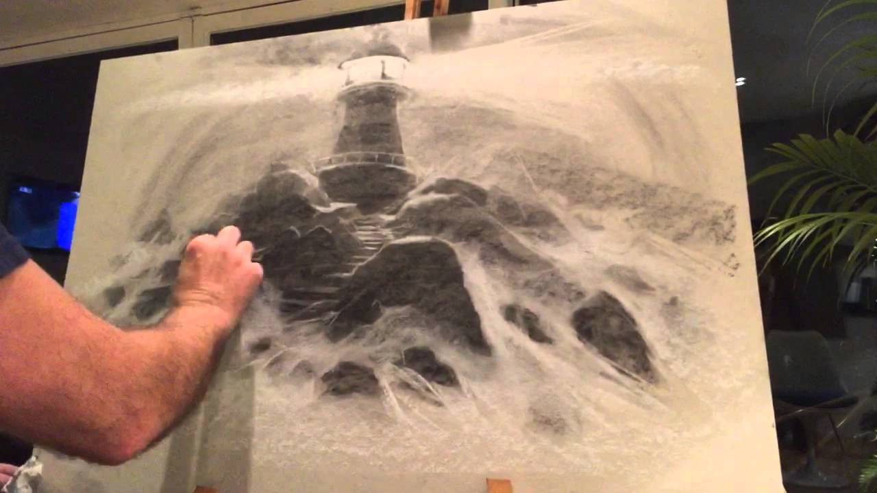 Drawn lighhouse charcoal drawing  charcoal and a dramatic