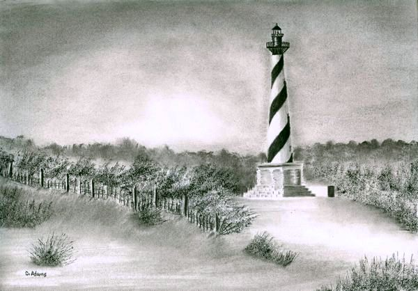 Drawn lighhouse landscape III Lighthouses Lighthouse Adamsart L_Hatteras