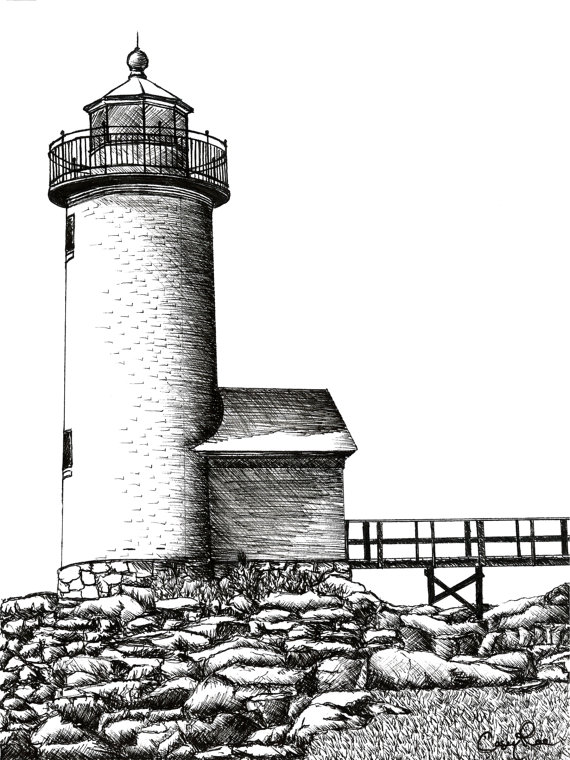 Drawn lighhouse landscape And Lighthouse Ink Drawing Pen