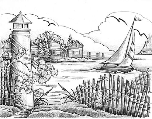 Drawn lighhouse landscape Pinterest images best Art &