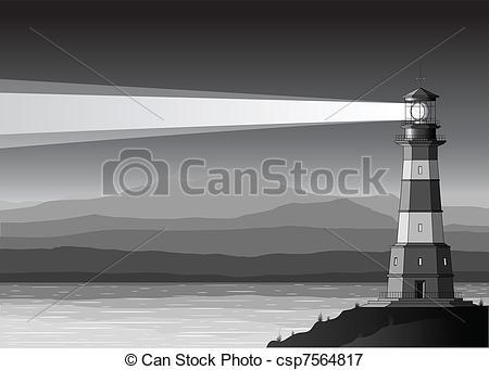 Drawn lighhouse landscape Royalty and 7 sea landscape