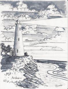 Drawn lighhouse landscape Manzara ÇALIŞMALARI 2011 Draw Young