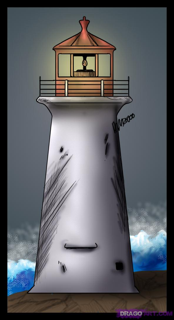 Drawn lighhouse line drawing Lighthouse How Draw simple Step