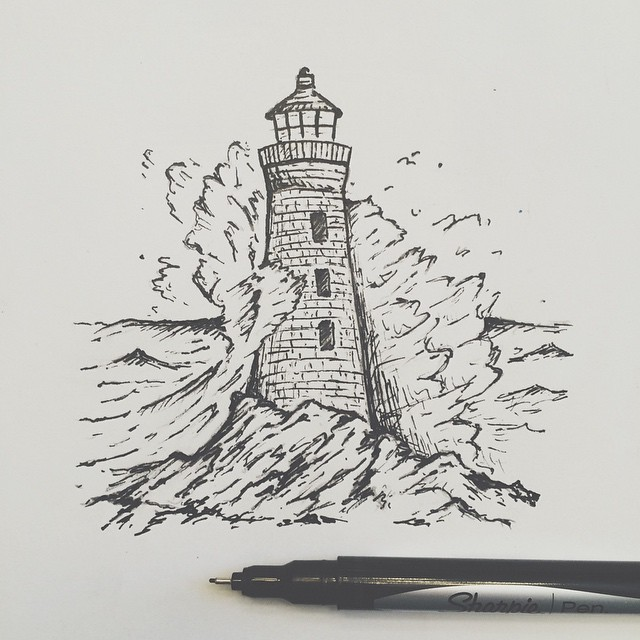 """Drawn lighhouse line drawing Drawing Wrapping the drawing """""""