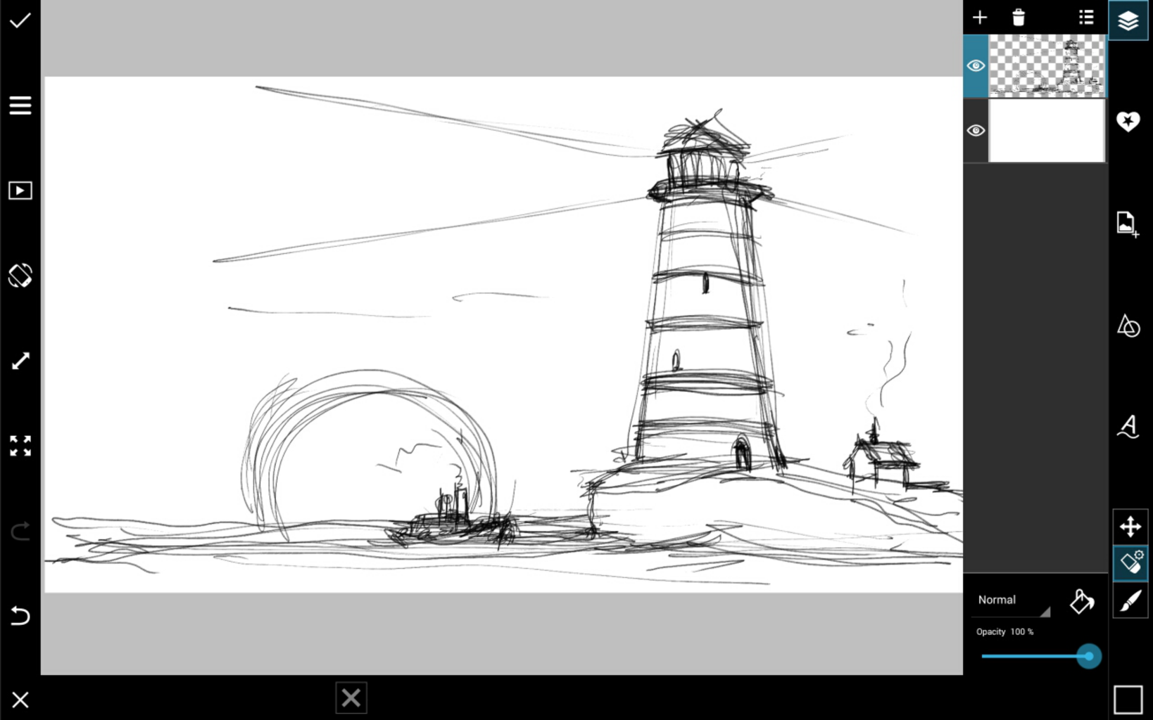 Drawn lighhouse line drawing Step PicsArt with  by