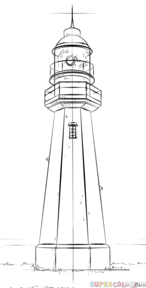 Drawn lighhouse line drawing Drawing lighthouse by draw tutorials