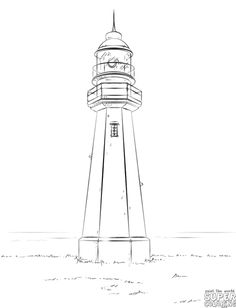 Drawn lighhouse line drawing Light  Stock by Drawing