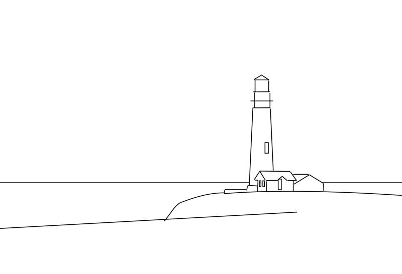 Drawn lighhouse line drawing Paint Art The outlines Basket