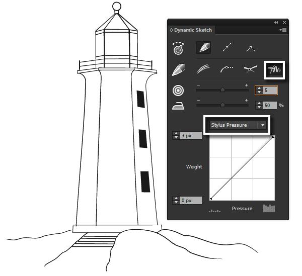 Drawn lighhouse outline Nautical the Step the Adobe