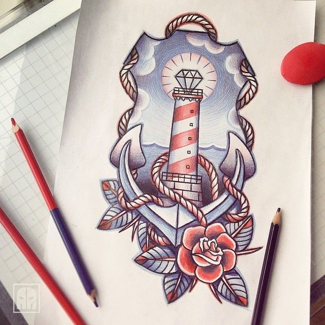 Drawn anchor american traditional Best ideas blue I Red