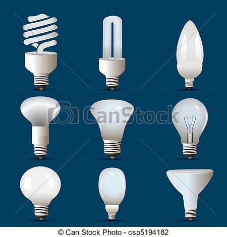 Drawn bulb cfl bulb Different Vector shapes of cfl