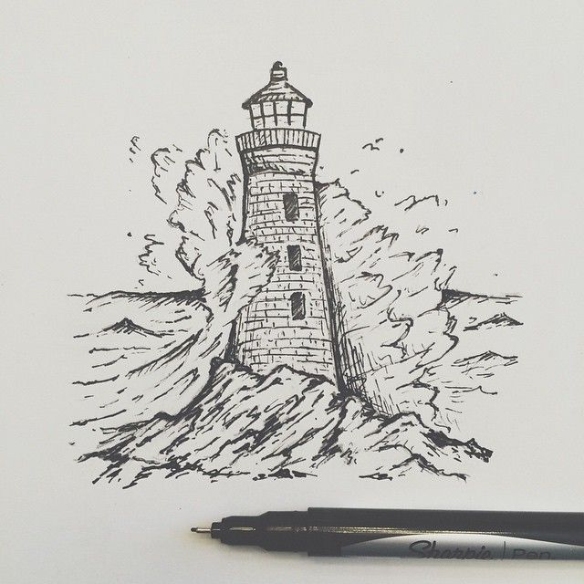 Drawn lighthouse #3