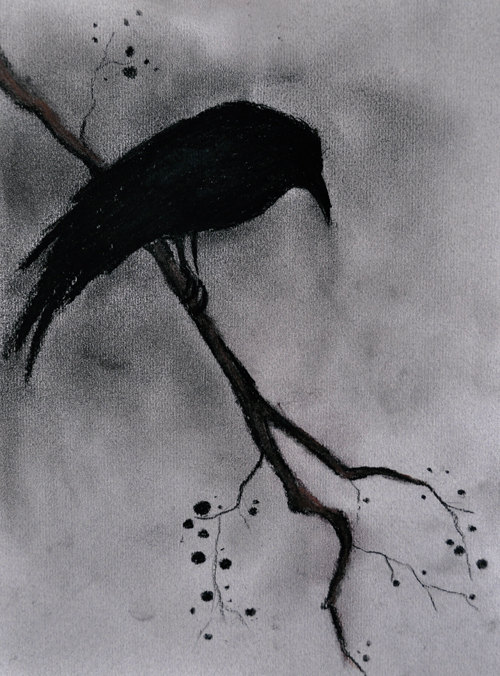 Drawn raven black raven Charcoal Abstract Gothic drawing Temple