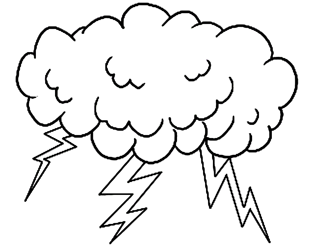 Thunderstorm clipart black and white Cloud Coloring Cloud Coloring Pages