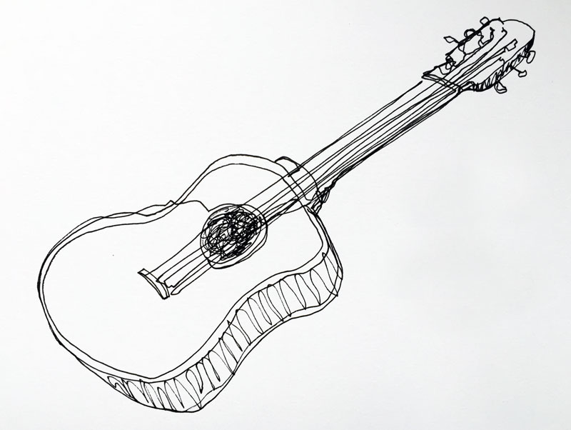 Drawn musical line drawing Line line Continuous guitar Drawing