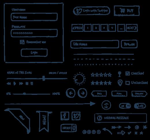 Drawn button user interface #1