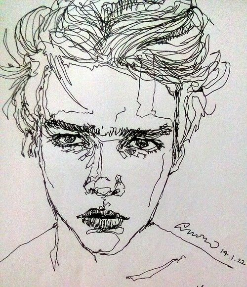 Drawn portrait line drawing Drawing learning with assignment ideas
