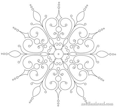 Drawn snowflake filigree Embroidery Evolution Pattern Embroidery an