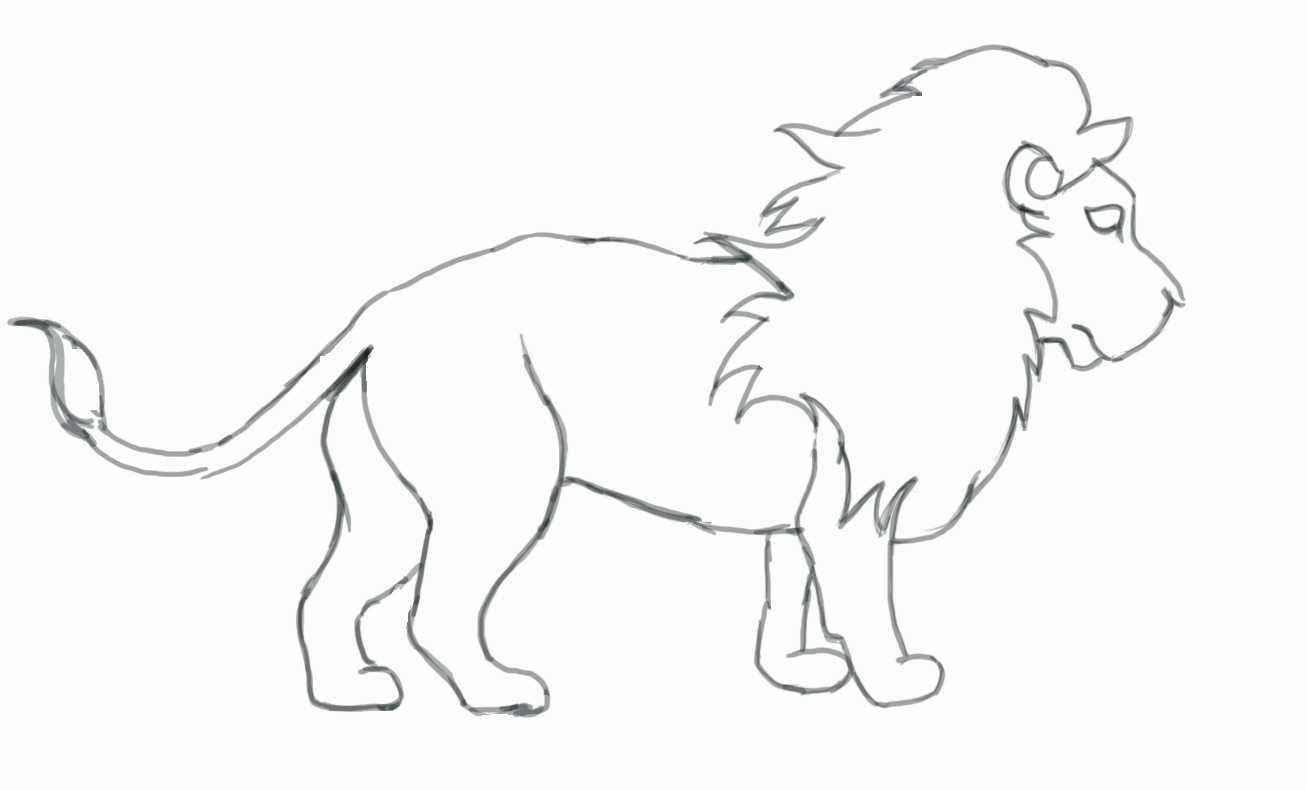 Drawn simple lion How by Use a Step