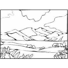 Color clipart mountain range Lake Page Coloring com Mountain
