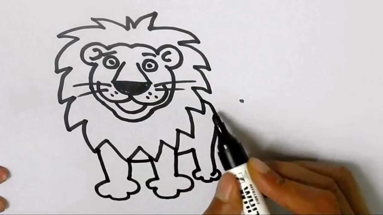 Drawn simple lion Kids How beginners by in