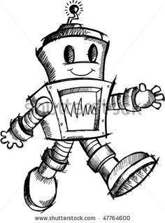 Drawn amd robot Traditional robot cute heart sketch