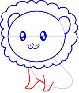 Drawn simple lion How kids com How a