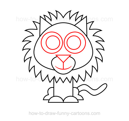 Drawn lion straight line Lion draw to to a