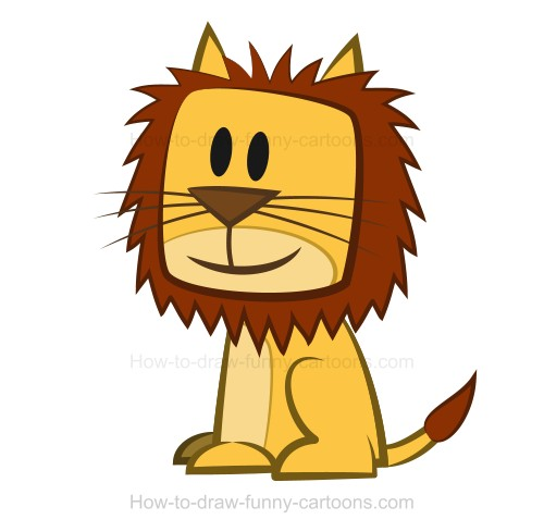 Drawn lion straight line Bright on rectangle the the