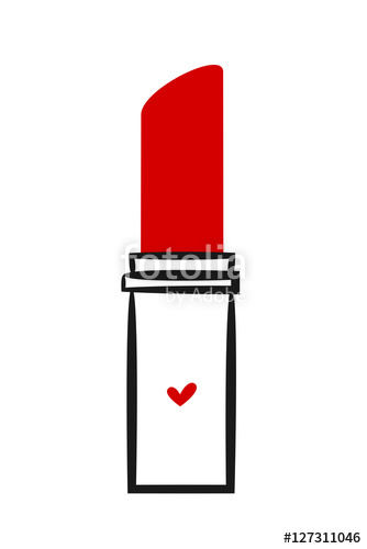 Drawn lipstick Linear cute isolated linear background