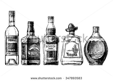 Boose clipart bourbon Alcohol in style bottles hand