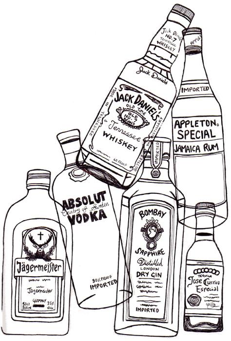 Drawn liquor Bottle the  white can