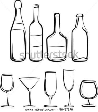 Drawn beer liquor Inspiration outline  Bottle bottle