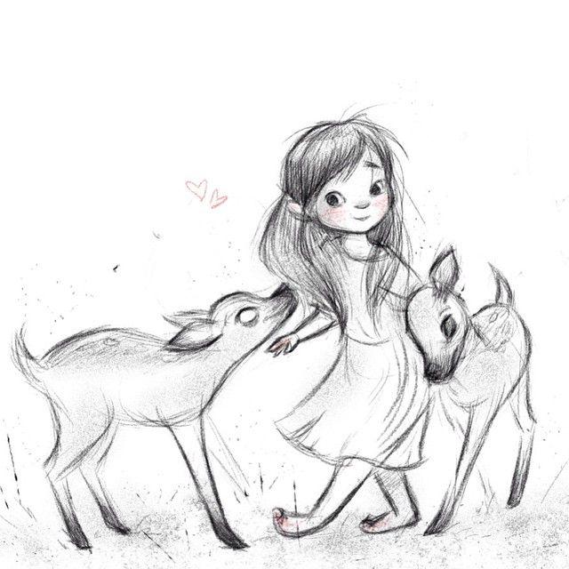 Drawn little girl 20+ Sketch Pinterest little and