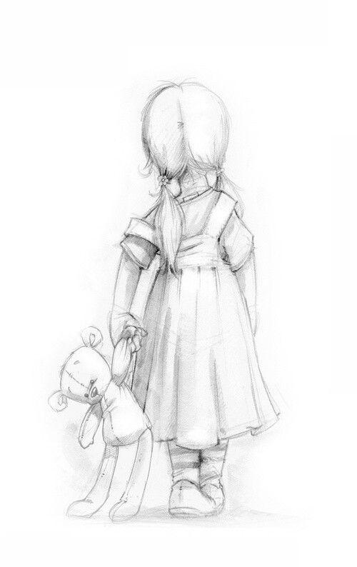 Drawn little girl Little Child teddy drawing little
